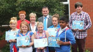 Pupils from Colne Primet High School in Lancahire show off Diamond Jubilee certificates alongside Andrew Stevenson MP and Headteacher Janet Walsh