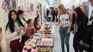 Buile Hill Visual Arts College had jubilee-themed stalls for students and staff to browse