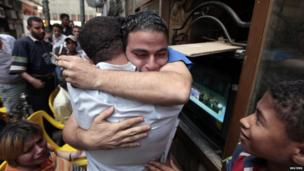An Egyptian celebrates after a court sentenced deposed Egyptian president Hosni Mubarak to life in prison