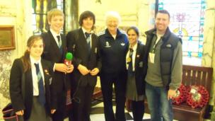 Dame Mary Peters poses with School Reporters