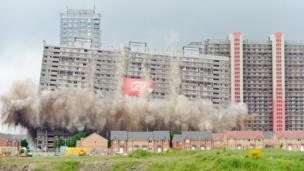 Red Road flats being demolished