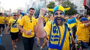 Sweden fans in the fan zone in Kiev