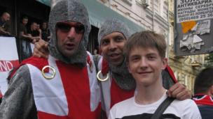 BBC School Reporter poses for a picture with England fans