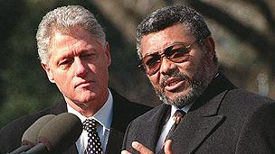 Ghanaian president Jerry Rawlings, right, and US President Bill Clinton