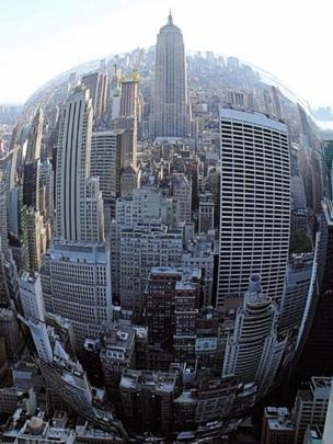 New York skyline taken with a fish eye lens