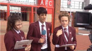 School Reporters outside Riverside Stadium