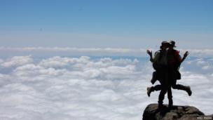 Emma Jenkins and a friend on Mount Kilimanjaro