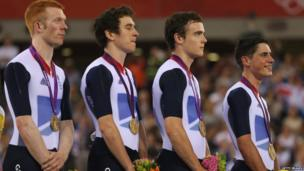 Track cyclists Ed Clancy, Geraint Thomas, Steven Burke and Peter Kennaugh