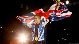 Luke Campbell with his gold medal for the bantamweight boxing