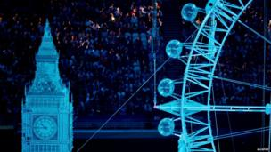 Statue of the London Eye at London 2012 Olympics closing ceremony