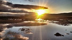 Sunset over Brora beach