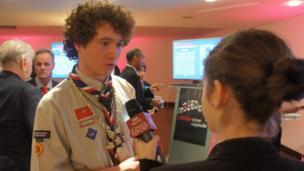 Emily interviewing Jay Thompson, Tuvalu Scout Association Ambassador