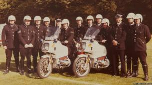 Police officers and sergeants from the Traffic Unit in the late-1970s.