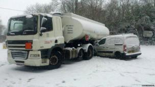 Tanker and a van collide on the A29 in Slindon