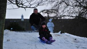 Dave and Tess sledging