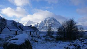 Blackrock Cottage in its winter setting, taken by Margaret Russell at the Glencoe Ski Centre