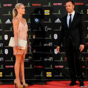 Reeva Steenkamp and Oscar Pistorius in Johannesburg (image from Nov 2012)
