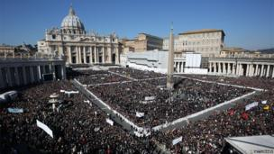 Pope Benedict XVI speaks to a huge crowd in St Peter's Square, in the Vatican, 27 February 2013