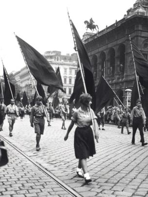 Members of the Social-Democratic Youth Movement Marching Past the Opera House, Opernring, Vienna, 1928