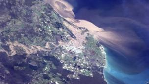 Picture of Australia taken from space.