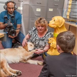 Morris sleeps on the floor as Mrs Kemp is interviewed
