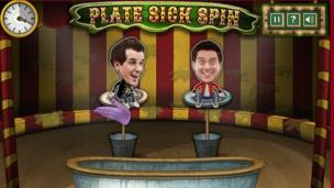 A screenshot of Dick and Dom's Hoopla. The characters are sat on turntables in a circus environment.