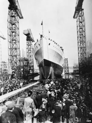 Launching HMS Belfast on St Patrick's Day 17 March 1938 by Anne Chamberlain