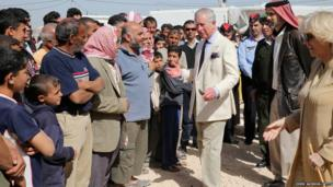 The Prince of Wales and Duchess of Cornwall visit the King Abdullah Refugee Camp for Syrian refugees