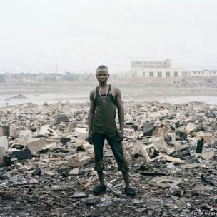 Pieter Hugo, Zakaria Salifu, Agbogbloshie Market, Accra, Ghana 2010, part of Triptych