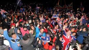 Falkland Islanders celebrate