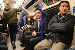 Labour leader Ed Miliband takes the tube back to Westminster