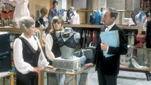 Mollie Sugden as Mrs Slocombe, Wendy Richard as Miss Brahms and Frank Thornton as Captain Peacock in Are You Being Served?