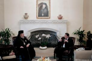 Cypriot Archbishop Chrysostomos II meets Cypriot President Nicos Anastasiades