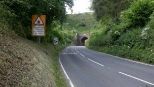 Beaminster Tunnel photographed in 2007 before the landslip