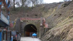 The slip on the north side of Beaminster Tunnel which damaged the portal facade.