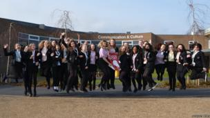 Northfleet School students jump in the air for a School Report photograph