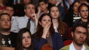 Students listen to US President Barack Obama speaking at the Jerusalem Convention Centre, 21 March