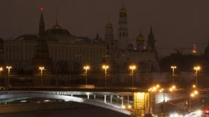 The Kremlin from the Moskva river during Earth Hour