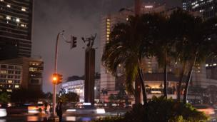 Jakarta's Welcome monument during Earth Hour
