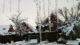 Snow on buildings and icicles. Photo: Tony Stanistreet.