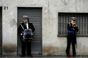 Members of the band rehearse in Oviedo