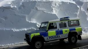 Isle of Man constabulary vehicle in snow