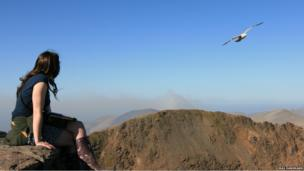 Woman on top of Snowdon