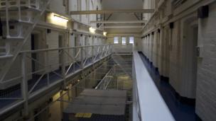 Prison wing landing at HMP Shrewsbury