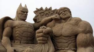 Weston Sand Sculpture, Easter 2013 (Batman and Hulk)