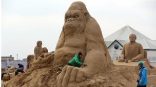 Weston Sand Sculptures, Easter 2013 (King Kong)