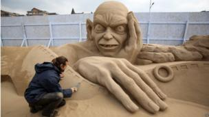 Weston Sand Sculptures, Easter 2013 (Gollum - LOTR)