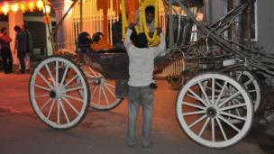Horse driver with his cart in Dhaka