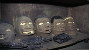 Distinctive masks made by the Makonde ethnic group.