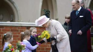 Queen and Prince Philip at St George's Chapel, Windsor Castle, 31 March